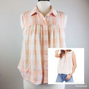Free People Plaid Button Up Sleeveless Top